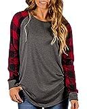 KUFV Women's Plaid Long Sleeve Tops Crew Neck Blouse Tunic T-Shirts