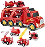 SLENPET Truck Car Playset with Lights and Sound, 1 Transport Cargo Truck, 4 Vehicles, Thickened Material Toys