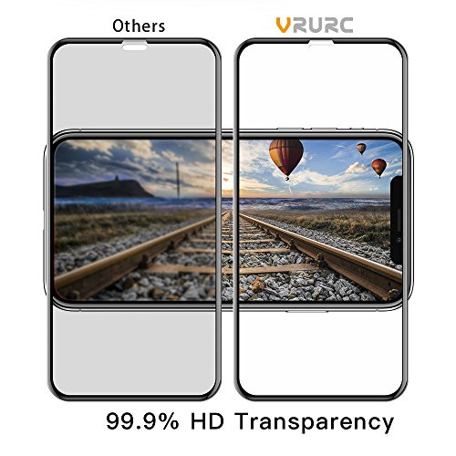 VRURC iPhone X Screen Protector, 5D Curved 9H Hardness Tempered Glass Screen Protector for iPhone X, HD Full Coverage iPhone X/10 Glass Protective Film [Bubble Free] [3D Touch]–Black Photo #2