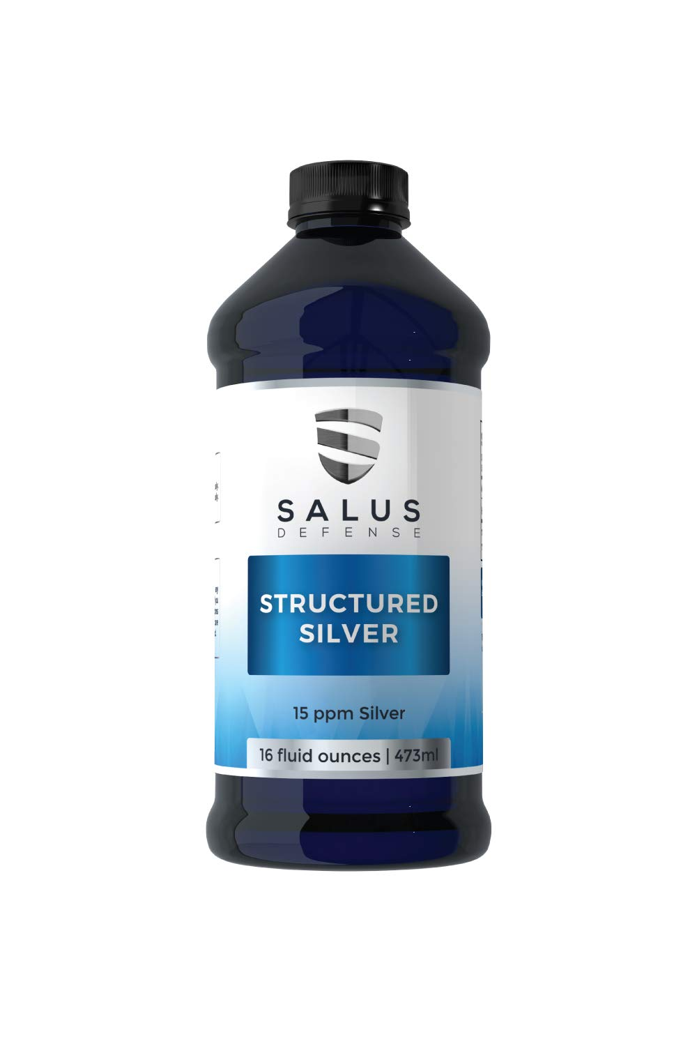 Salus Defense Structured Silver Liquid - Alkaline Water With 15ppm Structured Silver To Quickly Promote Health Gut Bacteria - All Natural and Safe With No Additives - 16 Ounces by Salus Defense