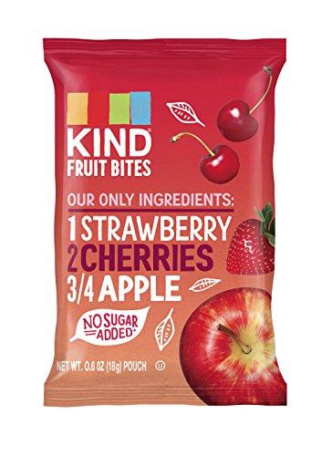 KIND Fruit Bites Fruit Snacks, Strawberry Cherry Apple, Gluten Free, Nut Free, .6oz Pouches, 40 Count (Fruit Snacks Strawberry Real)