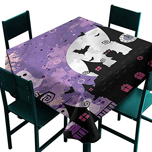 DONEECKL Antifouling Tablecloth Vintage Halloween Towers and Bats Washable Tablecloth W60 xL60