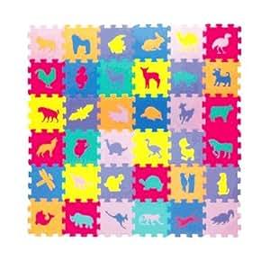 Safield alfombra de juegos y puzzle infantil goma eva 36 piezas dise o de animales amazon - Alfombra de goma eva ...