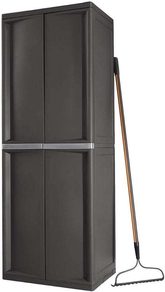 Lockable Storage Cabinet Outdoor 4 Shelf Organizer Yard Garden Garages Pantry Dorm Room Kitchen Adjustable Shelves 2 Doors Accent Cabinet Storage Shed Horizontal