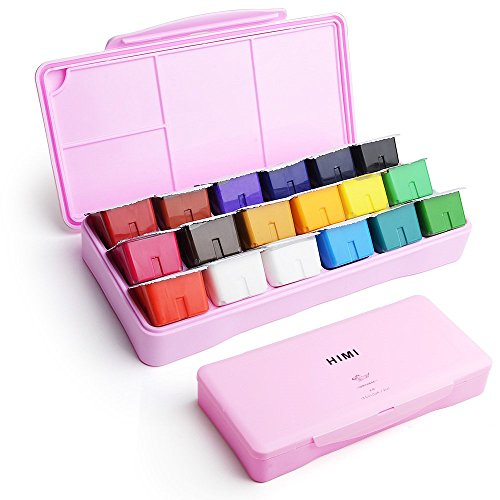 Acryla Set - Miya Gouache Paint Set, 18 Colors x 30ml Unique Jelly Cup Design, Portable Case with Palette for Artists, Students, Gouache Watercolor Painting (Pink)
