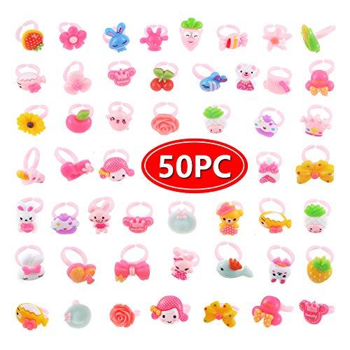 50 pcs Random Rings Set for Little Girls Dress Up Kids Toddler Dress Up Accessories Toy Playset Set Halloween Costume Christmas Birthday Gift