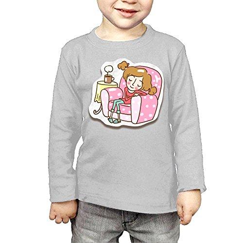 ZheuO Boys & Girls Baby Girl Resting On Sofa Soft 100% Cotton T-Shirts Unisex Gray 5-6 Toddler (Sofa Price Cloth)
