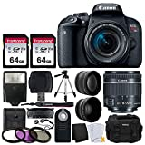 Canon EOS Rebel T7i 24.2MP Digital SLR Camera + EF-S 18-55mm f/4-5.6 is STM Lens + 2X 64GB Memory Card + Wide Angle & Telephoto Lens + RC-6 Wireless Remote + DC59 Gadget Bag + Tripod + Valued Bundle