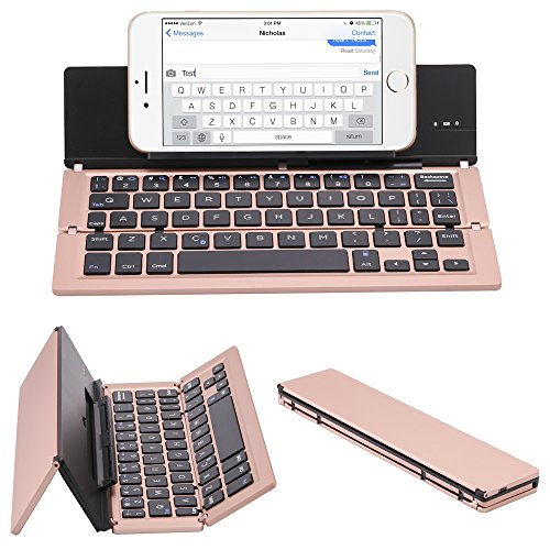 NOVT Portable Aluminum Folding Bluetooth Keyboard Foldable Compatible with iPhone xs max/x/8/7 Plus/7/6s Plus/6/iPad 2018 9.7/Air 2 /Pro 9.7/iPad mini 4, Samsung Android Tablet Smart phone (Rose Gold)