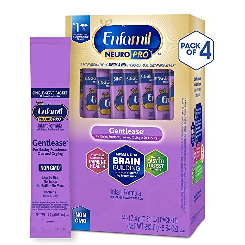 Enfamil NeuroPro Gentlease Infant Formula - Clinically Proven to reduce fussiness, gas, crying in 24 hours - Brain Building Nutrition Inspired by breast milk - Single Serve Powder, 17.6g (56 packets)