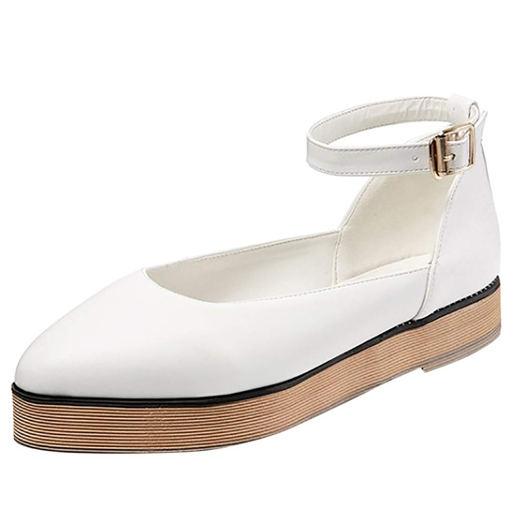 Womens Leather Thick Bottom Single Shoes Retro Ankle Strap Buckle Shallow Oxford Shoes Comfy Student Pointed Toe Shoes