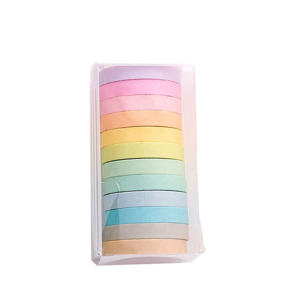 Washi Cinta,Washi Tape 12 Rolls Cintas Decorativas de Scrapbook Rainbow Adhesiva Cinta de Enmascarar para Scrapbooking DIY Manualidades 8mm