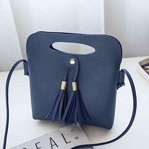femmes à Bucket unie Mengonee d'épaule Sacs Bleu Sac bandoulière Casual Boucle Tassel couleur Messenger unique Fille Tote sac main magnétique de PU 4EZvq