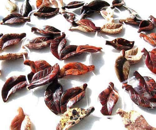 - 2 Red Brecciated Jasper Carved Leaf Beads for Jewelry Making 8944