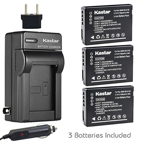 Kastar Battery 3 Pack and Charger for Panasonic DMW-BCG10 Lumix DMC-ZR1 DMC-ZR3 DMC-ZS1 DMC-ZS10 DMC-ZS15 DMC-ZS19 DMC-ZS20 DMC-ZS25 DMC-ZS3 DMC-ZS5 DMC-ZS6 DMC-ZS7 DMC-ZS8 DMC-ZX1 DMC-ZX3 DMC-3D1