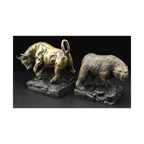 Bear Stock Market Bookends - Stock Market Bronze Bookends