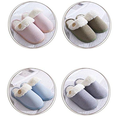 Hiver Pantoufle WDGT Maison on pour Anti dérapant Slip Chaussons Femmes Hommes en intérieure 004 Souples Pantoufles Chaudes Coton Peluche la rembourrée Pantoufles f7xdq7P
