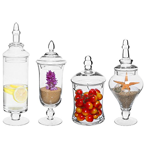 Set of 4 Clear Glass Apothecary Jars / Wedding Candy Serving Canisters / Decorative Storage Bottles (Apothecary Candy Jars)