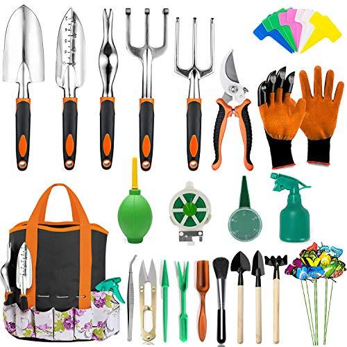 Set herramientas p/ jardineria + bolsa organizadora/naranja