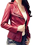wine jacket - XQS Women's Long Sleeve autumn Comfy Pu Leather Fashion Outerwear Jacket Wine Red XL