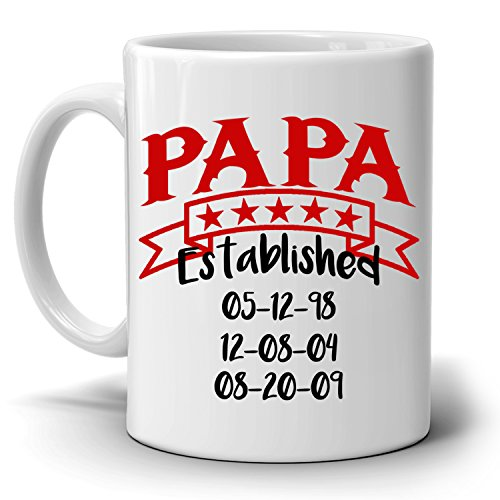 Personalized!! Papa Established Date Coffee Mug A Fathers Day and Birthday Gifts From Daughter and Sons, Printed on Both Sides!