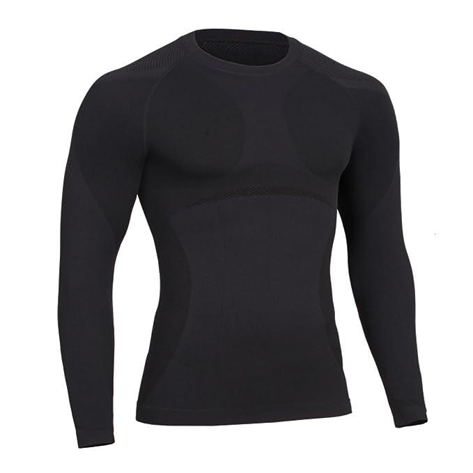 Bwiv Camiseta Hombre Fitness Compresión Camiseta Manga Larga Secado Rápido  Respirable para Entrenamiento Correr Ciclismo Deportiva Aire Libre Color  Puro ... 203dcf8bdc285