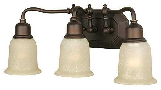 Craftmade 15819obg3 vanity light with tea stained glass shades oiled bronze finish