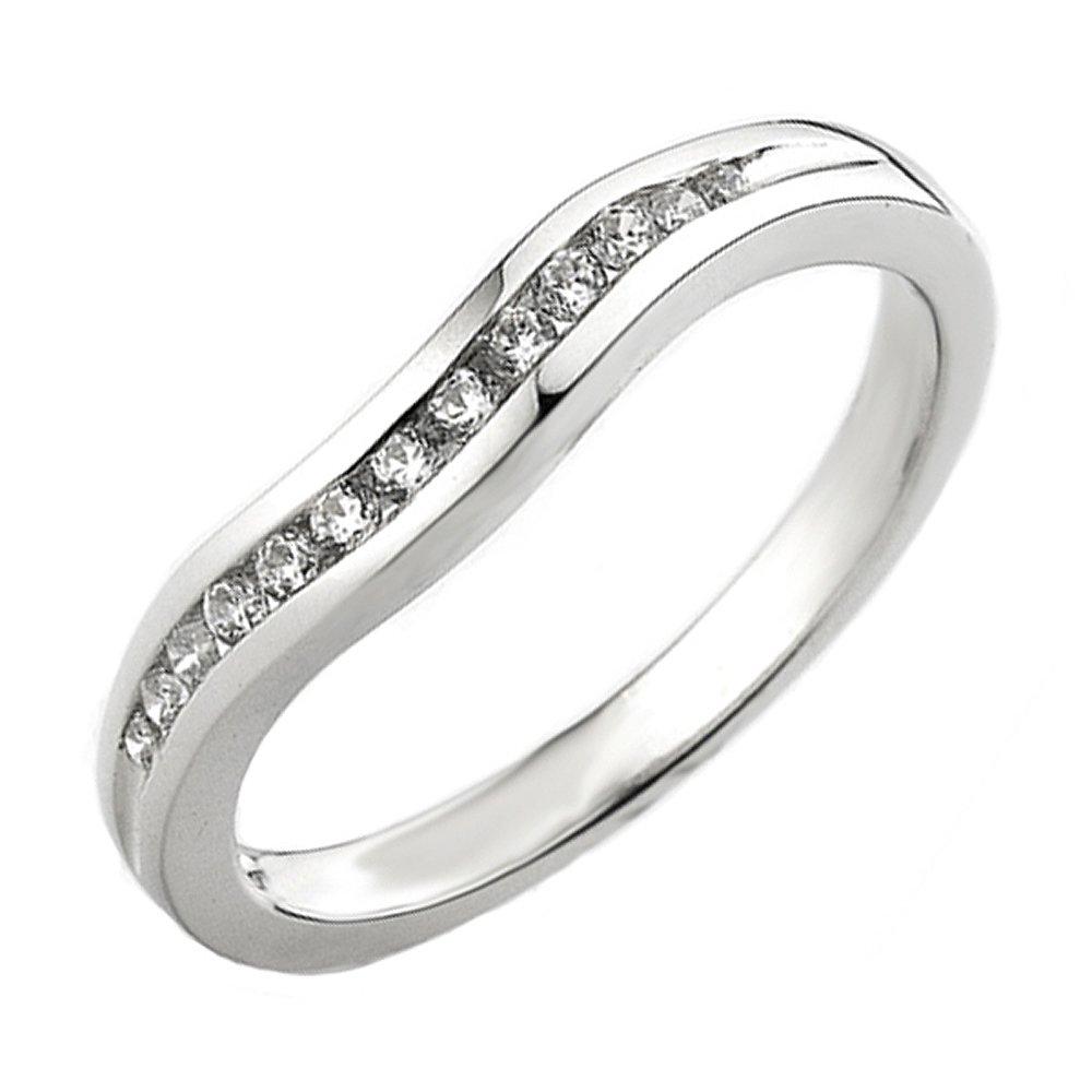 Dazzlingrock Collection 0.20 Carat (ctw) 14K Round Diamond Ladies Anniversary Wedding Band Guard Ring 1/5 CT, White Gold, Size 7.5 by Dazzlingrock Collection
