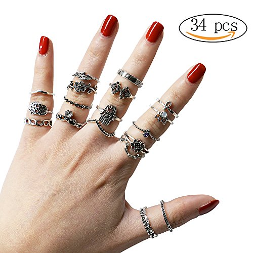 34 PCs Knuckle Ring Set Vintage Hamsa Hand Bohemian Elephant Crown Sun Moon Rhinestone Joint Rings for Girls Women Mom Mother's (Vintage Set)