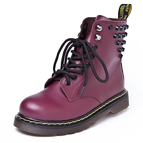 AmoonyFashion Womens Round-Toe Closed-Toe Low-Heels Boots With Rubber Soles and Chunky Heels Claret