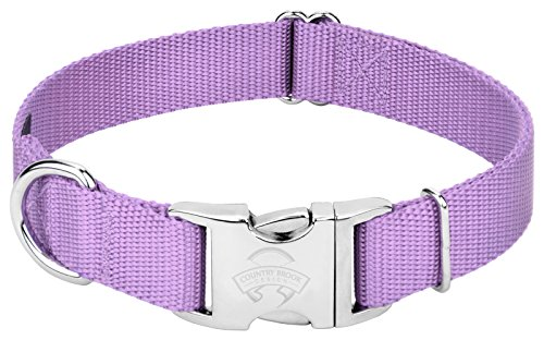 Image of Country Brook Petz | Premium Nylon Dog Collar with Metal Buckle (Small, 3/4 Inch Wide, Lavender)