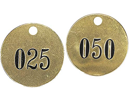 """Numbered 1-1/2"""" Solid Brass Round Valve Tags 1-50"""