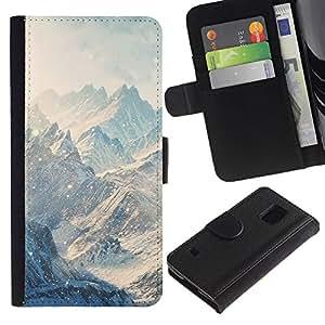 LASTONE PHONE CASE / Lujo Billetera de Cuero Caso del tirón Titular de la tarjeta Flip Carcasa Funda para Samsung Galaxy S5 V SM-G900 / Mountains Snow Winter Clouds White