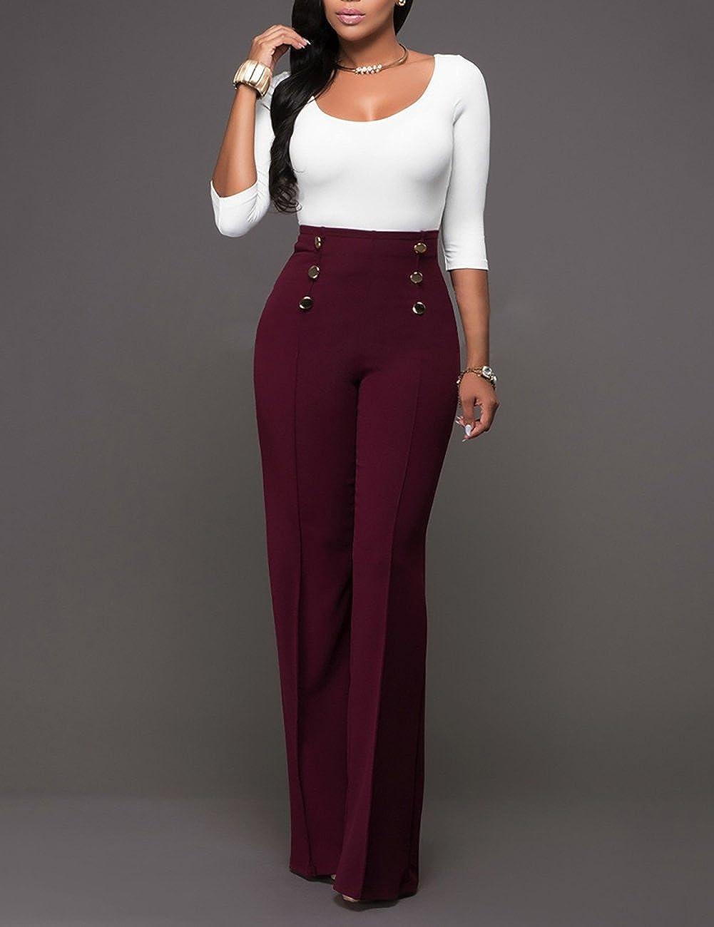 Ninimour Pantalones de Pierna Ancha Cintura Alta para Mujer: Amazon.es: Ropa y accesorios