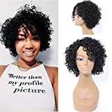 Short Curly Human Hair Wigs for Black Women, UDU 10inch 4C Curly None Lace Front Wig with Bangs For African American Women 100% Brazilian Virgin Hair Wig Side Part (Natural Black)