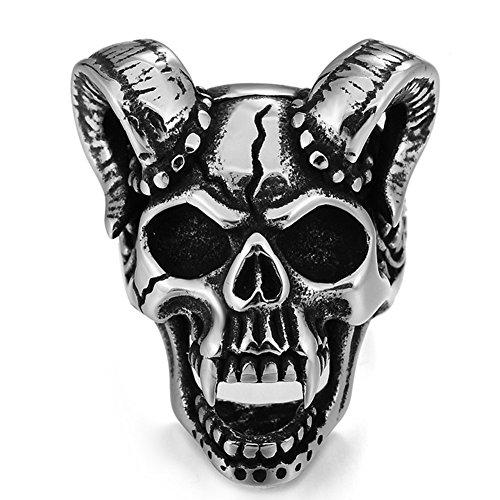 Fang Silver Ring (Men's Gothic Stainless Steel Band Rings Silver Tone Black Fangs Devil Fangs Skull Head Horn Biker Rings Size 7)