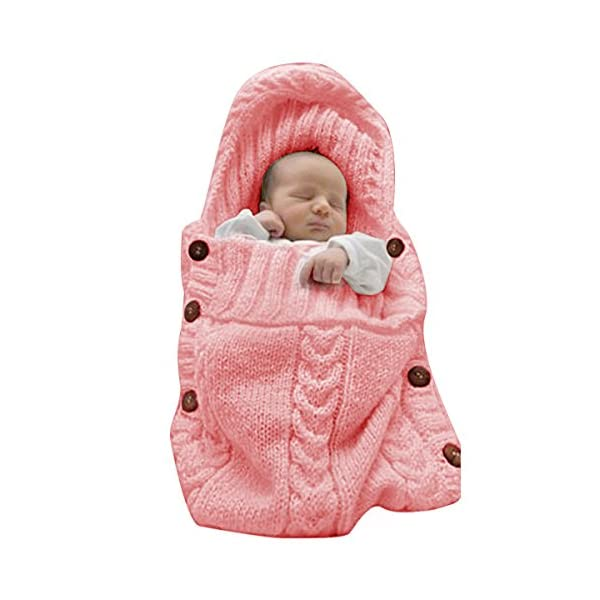 XMWEALTHY Newborn Baby Wrap Swaddle Blanket Knit Sleeping Bag Sleep Sack Stroller Wrap for Baby(Light Pink) (0-6 Month)