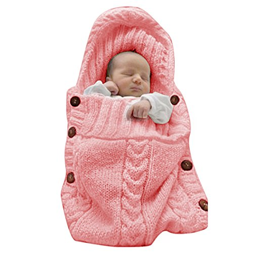 XMWEALTHY Newborn Baby Wrap Swaddle Blanket Knit Sleeping Bag Sleep Sack Stroller Wrap for Baby(Light Pink) (0-6 Month) ()