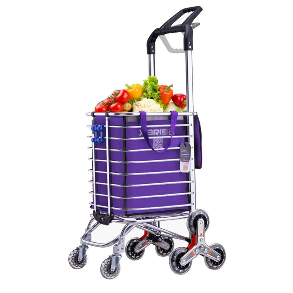 大容量階段クライミングショッピングカートバッグ軽量荷物食料品トロリー折りたたみ式8輪多機能ユーティリティトロリー,Purple  Purple B07JWCFVD6