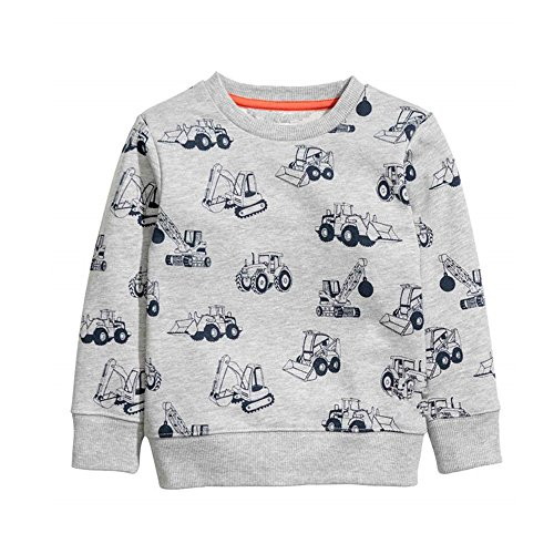 HUAER& Baby Boy's Crewneck Cotton Long Sleeve Sweatershirt (5T(Height:43inch/110cm), Gray) ()
