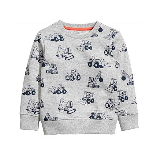 HUAER& Baby Boy's Crewneck Cotton Long Sleeve Sweatershirt (2T(Height:35inch/90cm), Gray)