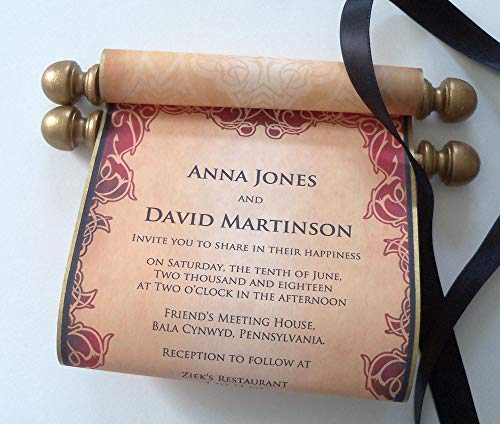 Wedding invitation paper scrolls with wooden finials, medieval royal castle fantasy kingdom theme, set of 10
