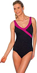 6d229e262b Krinkle Color Block Mock Surplice One Piece Chlorine Resistant Swimsuit  Berry 16