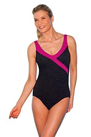 f2c8bb290b635 Image Unavailable. Image not available for. Color  Krinkle Color Block Mock  Surplice One Piece Chlorine ...