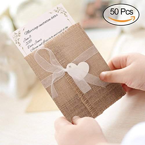 AerWo 50Pcs Burlap Wedding Invitation Cards, Rustic Wedding Invitation with Envekopes. 100% Pure Burlap Invitations with Gauze for Vintage Wedding, Bridal Shower, (Vintage Halloween Printables)
