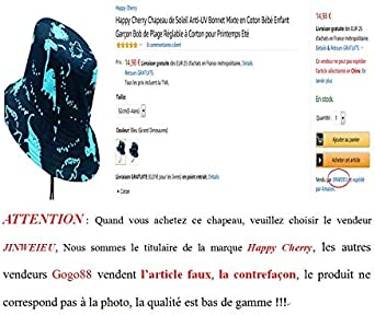 Happy Cherry Chapeau de Soleil Anti-UV Bonnet Mixte en Coton B/éb/é Enfant Gar/çon Bob de Plage R/églable /à Corton pour Printemps Et/é