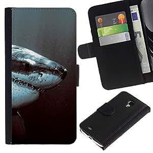 JackGot ( Tiburón Blanco Jaw ) Samsung Galaxy S4 Mini i9190 (NOT S4) la tarjeta de Crédito Slots PU Funda de cuero Monedero caso cubierta de piel