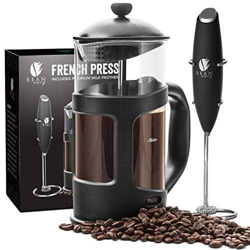 Professional Grade 34 oz French Press Coffee Maker & Premium Milk Frother With Stainless Steel Stand - Save Time & Money With Homemade Lattes! Spice Up Your Countertop & Taste Buds Every Morning! by Bean Envy (Image #1)