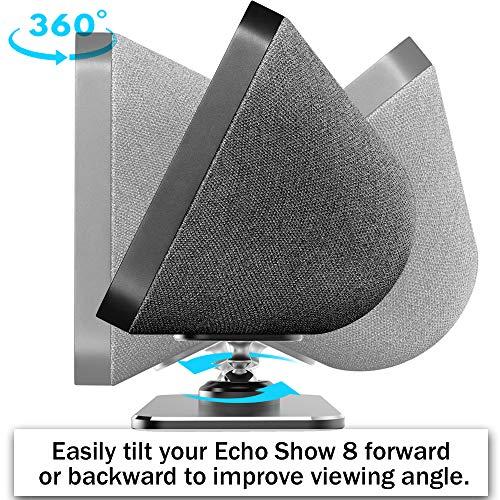 ezbnb Echo Show 8 Stand & Show 8 2nd Gen - Metal Magnet Adjustable Stand for Echo Show 8 - Aluminum Tilt + 360 Degree Swivel Holder for Echo Show 8