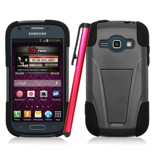 ManiaGear-Heavy-Duty-Armor-Case-Combo-BlackBlack-Case-Samsung-Galaxy-Ring-M840-Stylus-Pen-Screen-Protector-Virgin-Mobile